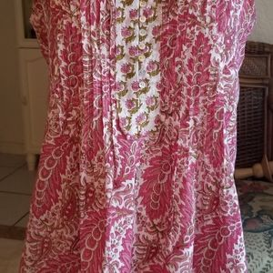 CLM Clothing Pink Paisley Cotton Top Hippie Boho S